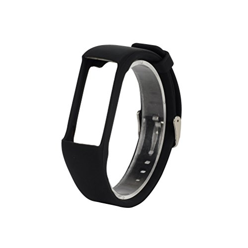 TenYun for Polar A360 Bands/Polar A370 Bands, Replacement One-Piece Soft Silicone Band/Sport Strap/Wristband / Accessory with Safety Metal Clasp for Polar A360 / A370 (Black)