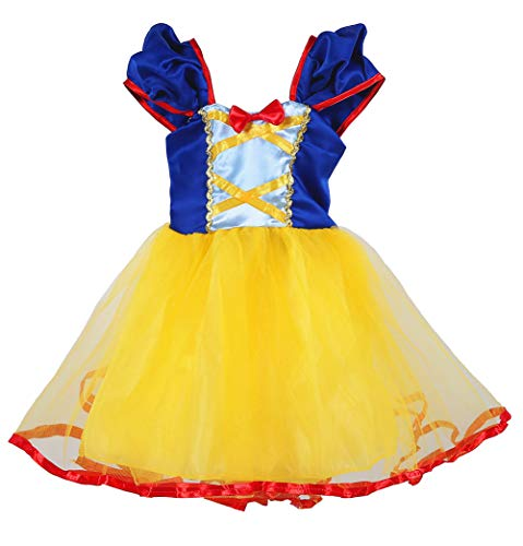 Tutu Dreams Princess Snow White Costumes for Girls Birthday Party Carnival Role Play (6X/7, Snow White)]()