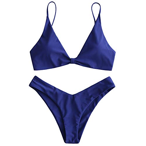 Triangle Cut Center - ZAFUL Women's Tie Knot Front Spaghetti Strap High Cut Bikini Set Swimsuit (Denim Dark Blue, S)