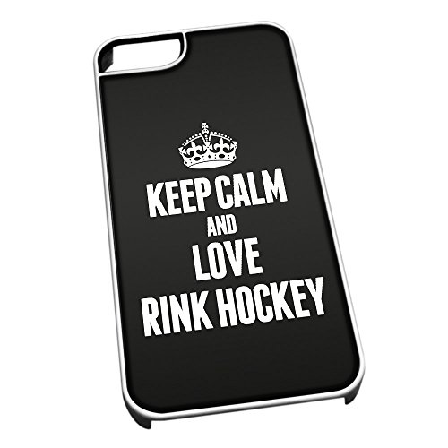 Bianco cover per iPhone 5/5S 1866 nero Keep Calm and Love Rink hockey