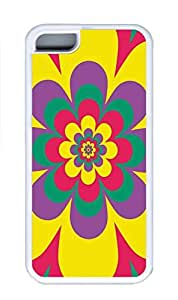 iPhone 5C Case, Colorful Beauty Flower Hot Sale Personalized Slim Protective Soft Rubber TPU White Edge Case Cover for Apple iPhone 5C