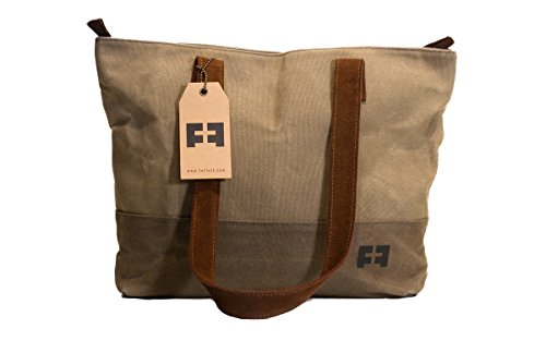 Cheap SMALL ZIPPER TOTE by FAT FELT :: Purse in Waxed Canvas and Suede Leather