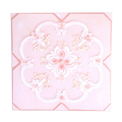 FTVOGUE 10Pcs Self Adhesive PVC Wall Stickers Tile Floor 3D Decal Home Bedroom Livingroom Bathroom Decor 12CM12CM(04)