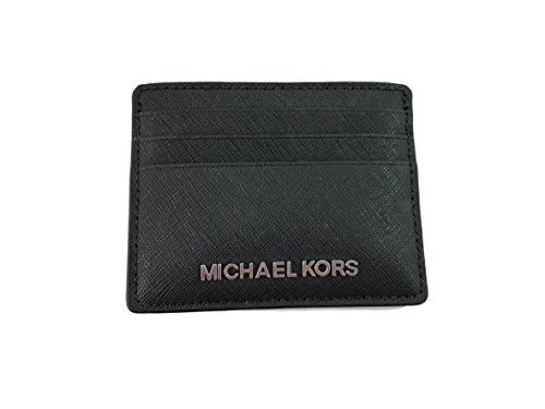 Michael Kors Jet Set Travel Large Saffiano Leather Card Holder (Black with Silver Hardware)