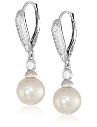 Platinum-Plated Sterling Silver Cubic Zirconia Freshwater Cultured Pearl Drop Earrings