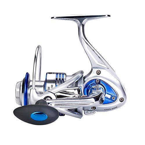 Diwa Spinning Fishing Reels for Saltwater Freshwater Ice Fishing Reels Ultra Smooth Light Weight Powerful Trout Carp Spinner Gear 13+1 Stainless BB Full Aluminum Alloy Body (5000)