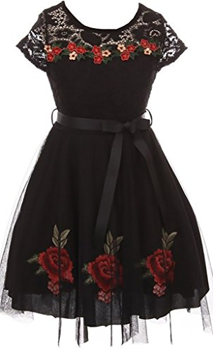 Little Girl Lace Short Sleeve Roses Embroidery Holiday Party Flower Girl Dress Black 6 JKS 2097 (Holiday Dress Rose)