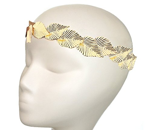 Goldtone Beech Leaves Grecian Head Piece (J-1160)