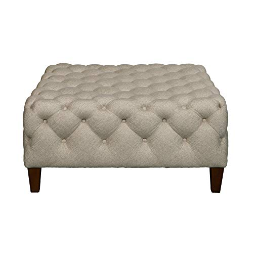 Pulaski DS-D108002-538 Square Button Tufted Cocktail Sateen Linen Ottoman, Beige Cocktail Ottoman Traditional Ottoman