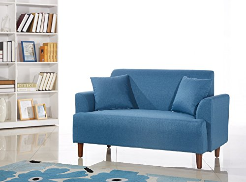 US Pride Furniture Modern Style Fabric Armed Loveseat, Blue