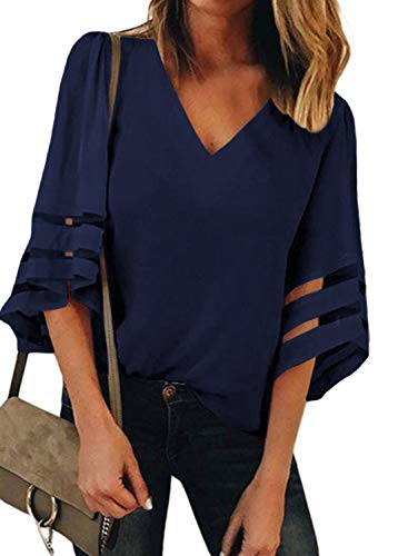BLENCOT Womens Cute Solid Chiffom Blouse Shirt 3/4 Bell Sleeve Lace Patchwork Summer Casual Loose Blue Small