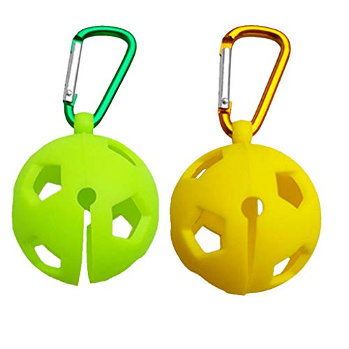Baosity 2X Silicone Golf Ball Holder Carrier with Durable Snap Clip on Your Bag for Single Standard Ball Yellow+Green