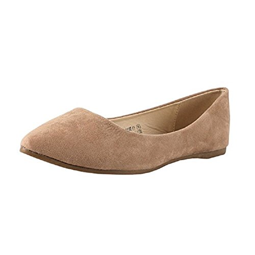 ShoBeautiful Women's Ballet Flats Pointed Toe Classic Slip On Loafer Shoes Suede Summer Wedding Shoes Taupe 6 - Classic Suede Loafers