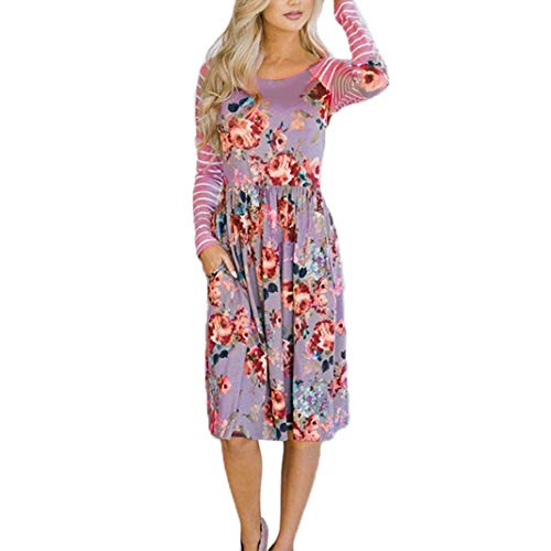 Faldas Largas Mujer Verano Rayas, Zolimx Mujeres de Manga Larga Una Línea de Ropa de Impresión Floral Suelta Vestido de Fiesta Casual Vestido Púrpura