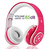 Wireless Bluetooth Foldable Headphones for Kids Teenagers Lightweight Easy to Carry Binaural Voice Tube Headset Sports Headphones Hi-Fi Audio Volume Beschänkung Over Ear Stereo Headphones Pink