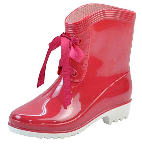 LvRao Mujer Zapatos Tobillo Alto de Lluvia Nieve Botas de Tacón Corta Bota de Goma Boots Impermeable Rojo