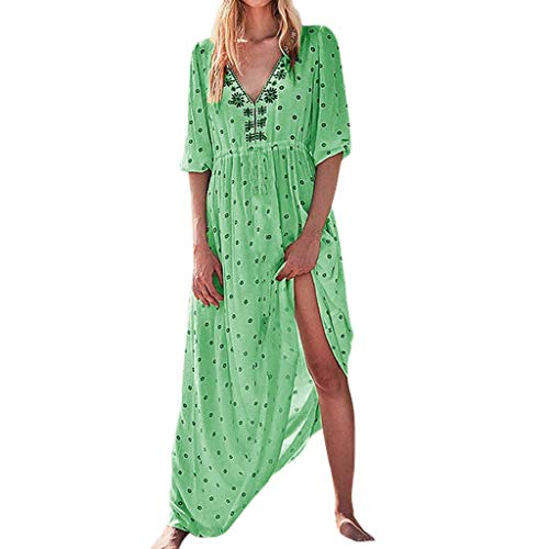 Wenini Summer Split V-Neck Sexy Dress for Women Solid Color Dress Print Five-Point Sleeve Dress ()