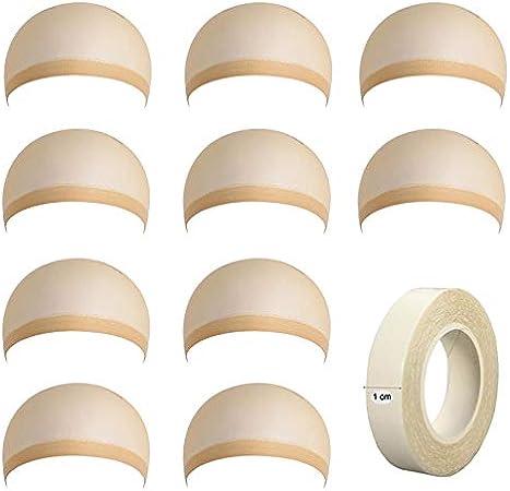 10 Piezas Gorras de Peluca, Casquillo de Peluca de Nylon, Desnudo Beige Natural,Para Mujeres y Hombres;con 1 Piez Cintas Adhesivas de Doble Cara Cintas de Extensiones de Cabello