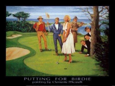Putting Birdie Clemente Micarelli 32x24 Art Print Poster Vintage Marilyn Monroe James Dean Humphrey Bogart John Wayne The Three Stooges on a Golf Course