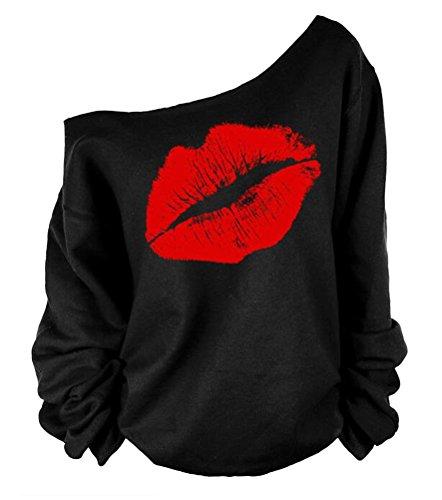 QZUnique Women's Digital Print Long Sleeve Strapless Pullover Fleece Sweatshirt Red Lip - Usps Standard Shipping International