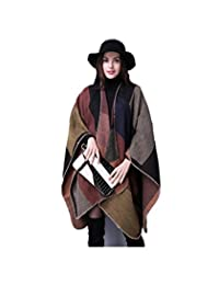 RuSong Womens Plaid Pattern Pashmina Wrap Shawl Infinity Scarf Poncho Cape Cardigans