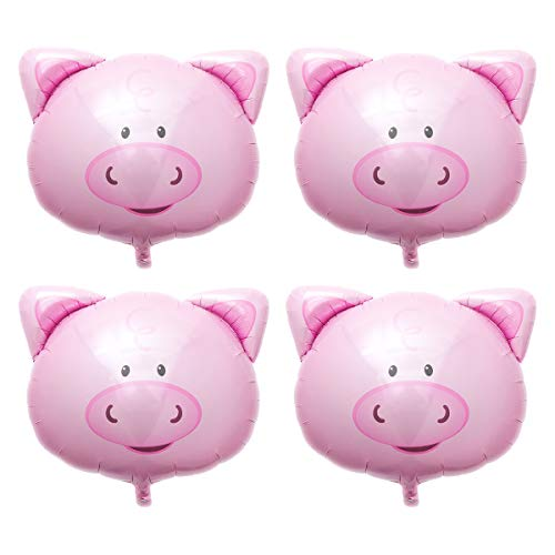 LUOEM 4pcs Pig Mylar Balloon Pink Pig Head Balloons Aluminium Film Balloon for Birthday Wedding Baby Shower Party Decorations]()