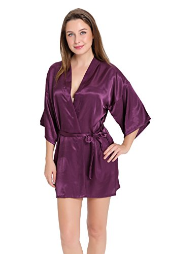 Wholesale Robes (Aibrou Women's Kimono Robes Satin Pure Colour Short style with Oblique V-Neck Dark Purple XL)