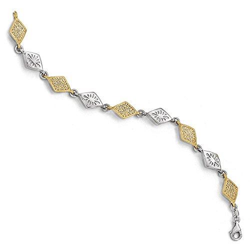 Bicolore Or-Argent 925/1000 plaqué or 24 carats avec Flash - 19 cm-JewelryWeb