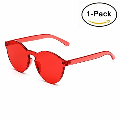 Samto One Piece Sunglasses, 2 Pack pc lens rimless colorful womens sunglasses (Red, 2.3) (Sunglasses Rimless)