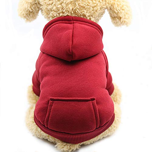 Fashion Focus On New Winter Dog Hoodie Sweaters with Pockets Cotton Warm Dog Clothes for Small Dogs Chihuahua Coat Clothing Puppy cat Custume (Wine red, X-Small)
