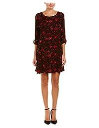 Velvet Womens Floral Print 3/4 Sleeves Casual Dress