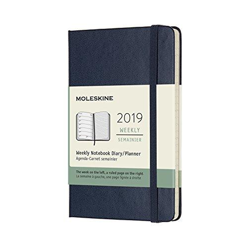 Moleskine 2019 - Cuaderno semanal, 12 m, con bolsillo, cuaderno semanal, zafiro azul, tapa dura (3,5 x 5,5)