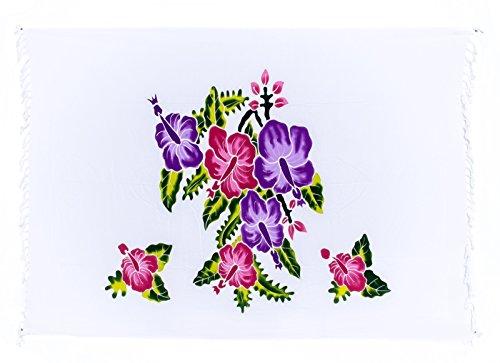 Sarong Pareo Dhoti Lunghi ca. 170cm x 110cm Weiss Bunt mit Blumen Motiv Handgefertigt