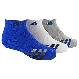 adidas Boys Cushion Low Cut Socks (Pack of 3), Bold Blue/Black - White/Bold Blue - Heathered Light Onix/Bold Blue, Large