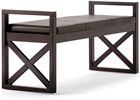 Simpli Home Rockchapel 48 inch Wide Rectangle Ottoman Bench Distressed Brown Footrest Stool, Faux Leather for Living Room, Bedroom, Contemporary Modern