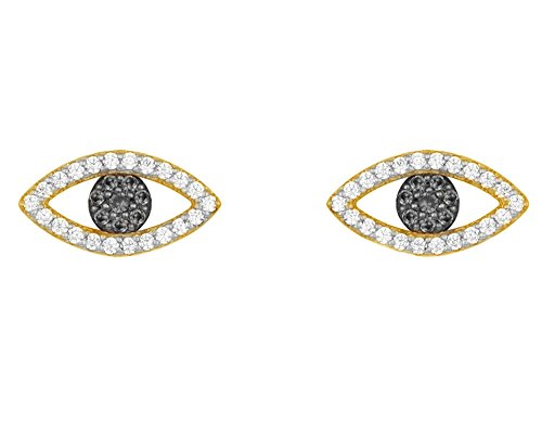 Christmas Sale 14K Yellow Gold Over Sterling Silver Blue Sapphire & Cubic Zirconia Evil Eye Stud Earrings