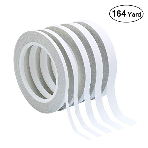 Homfshop 164 Yards Double Sided Tape Adhesive Sticky Tapes, 5 Different Width 2 Sided Tape for Arts, Crafts, Card Making, Office School Stationery Supplies