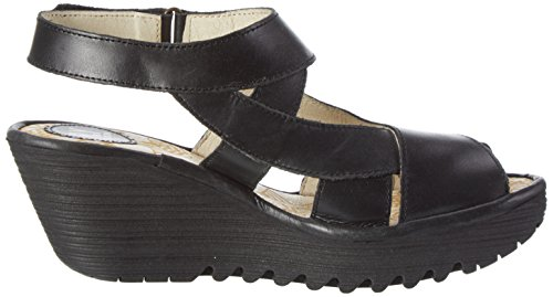 Fly London Damen Yona737fly Wig Sandalen Schwarz (zwart 000)
