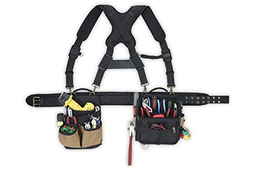 aft 1608 Electrician's Comfort Lift Combo Tool Belt with Back Support Belt with Suspenders, for Electricians, Carpenters, Framers, 29 pockets and sleeves for nails, parts, tools, nail sets, pencils (Tool Lift)