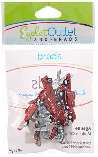 EYELET OUTLET Red Truck Shape Brads 12/Pkg