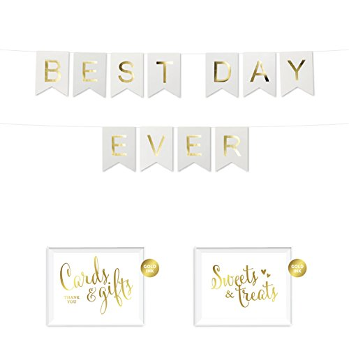 Andaz Press Shiny Gold Foil Paper Pennant Hanging Wedding Bridal Shower Banner with Gold Party Signs, Best Day Ever, White, Pre-Strung, No Assembly Required, 1-Set ()