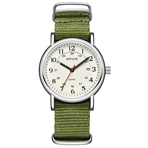 Tamlee Unisex 38mm Quartz Analog Watch with Date Nylon Slip-Thru Strap 30M Waterproof (Green)