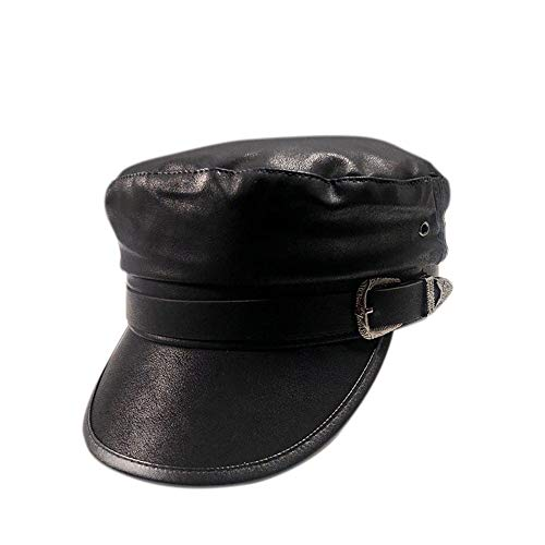 Ganenn Fashion Leather Newsboy Cap Ladies Visor Beret Hat Ivy Caps for Women (Black 1) ()