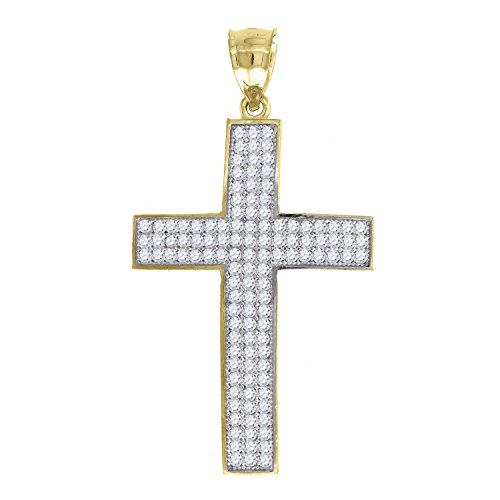 ld Yellow and White Two tone CZ Cubic Zirconia Mens Cross (Ht:43mm x W:23mm) Religious Charm Pendant ()