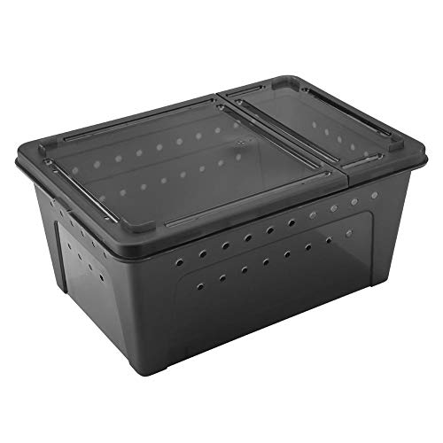 Yosooo Reptile Box Plastic Ventilated Feeding Container Transparent Animal Habitat Cage for Lizard Spider Frog Scorpion Snake Python(Black) (Portable Reptile Cage)