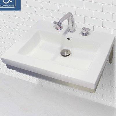 (DECOLAV 1819W-8B-CWH Coral Wall-Mount Lavatory Rectangular Wall-Mount Lavatory Sink with Brushed Stainless Steel Mounting Bracket, White)