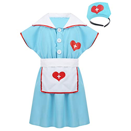 Freebily Kids Girls' Nurse Costume Uniform Dress with Hair Hoop Apron Set Florence Nightingale Halloween Cosplay Party Outfit Light Blue 6-8 -