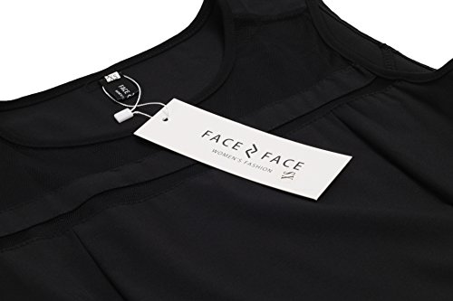 Sleeveless Mini Flare Slim Women's Face Short Mesh Black Dress N Face T6w0gfxqXn