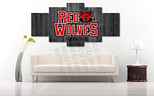 5 Piece American Football College University Teams Art Decor Wall Poster (5 Piece Medium, Arkansas State UNIV) (Football Arkansas State University)