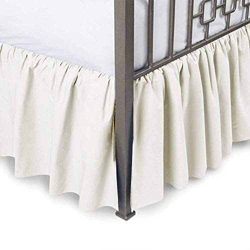 Linenwala Ruffled Bed Skirt with Split Corners - Olympic Queen, Bone, 21 Inch Drop Bedskirt (Available in and 16 Colors)